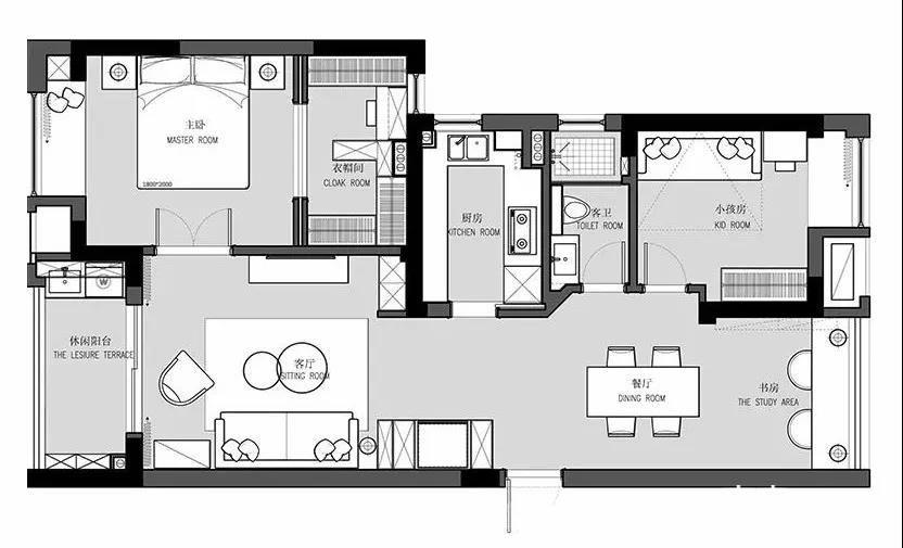 装修设计 济南装修 济南装修案例 情怀 二居   此户型为89平的两居