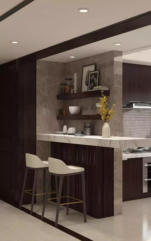 室内设计兼顾了东方美学和国际化审美需求:以东方底蕴为设计理念,呈现方式却极为现代。250平左右的空间,只安排了三室两厅,加之隔断转角的造景式设计,空间绰约宽敞。  室内户型图  玄关入户处用金属隔断 玄关入户,更有仪式感。房间入户处利用金属隔断、地毯分割等手法,将入户区与餐厅划分为一个虚实结合的空间体块,强调了入户的仪式感。而进行功能区分隔的同时,也巧妙地将客厅的支撑方柱包藏于隔断设计中,一举两得。 宽敞的玄关位置,用定制木质立柜装点空间。立柜同时兼具的收纳性,让整体设计更切合生活,保证了空间的整齐有序。