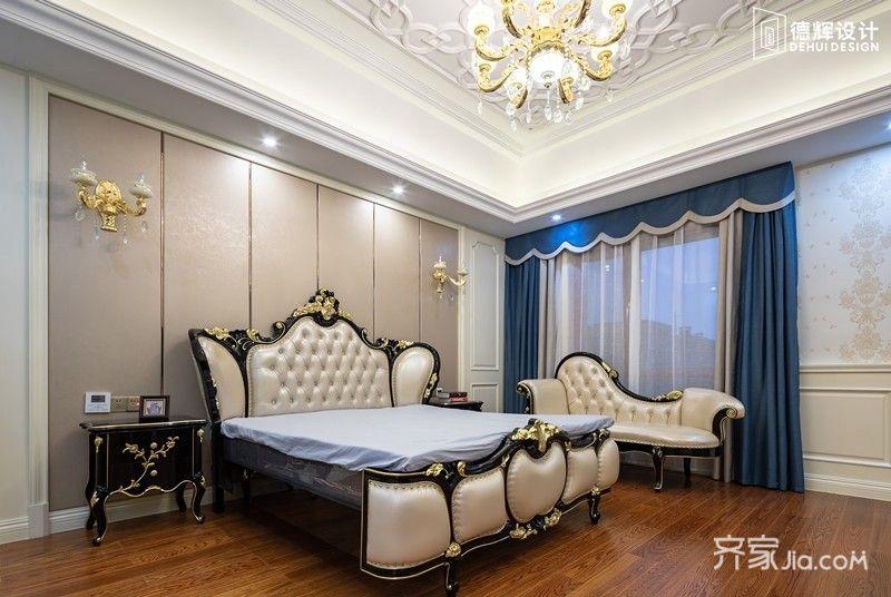 常州装修 常州装修案例 欧式 中海龙湾别墅   卧室墙面艺术漆清新图片