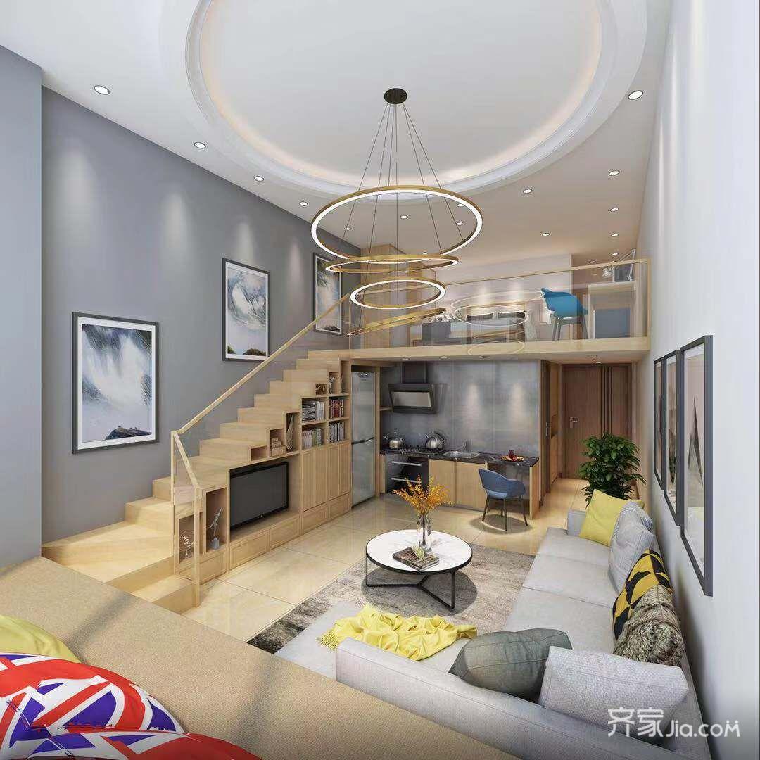 5万30平米简约一居室装修效果图,单身公寓装修案例
