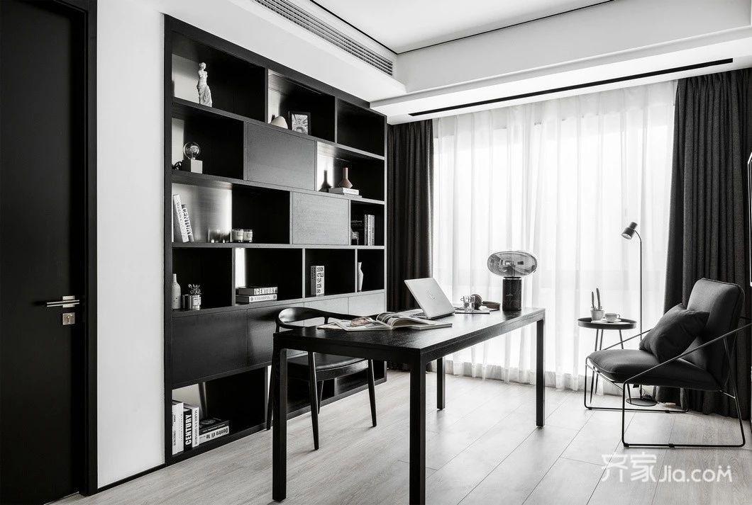 0万105平米现代三房装修效果图,105平方黑白灰现代图