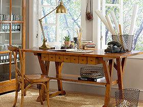 自然原木风 20张木质书桌设计效果图