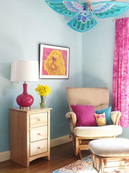 蓝色枚红色居室装修效果图