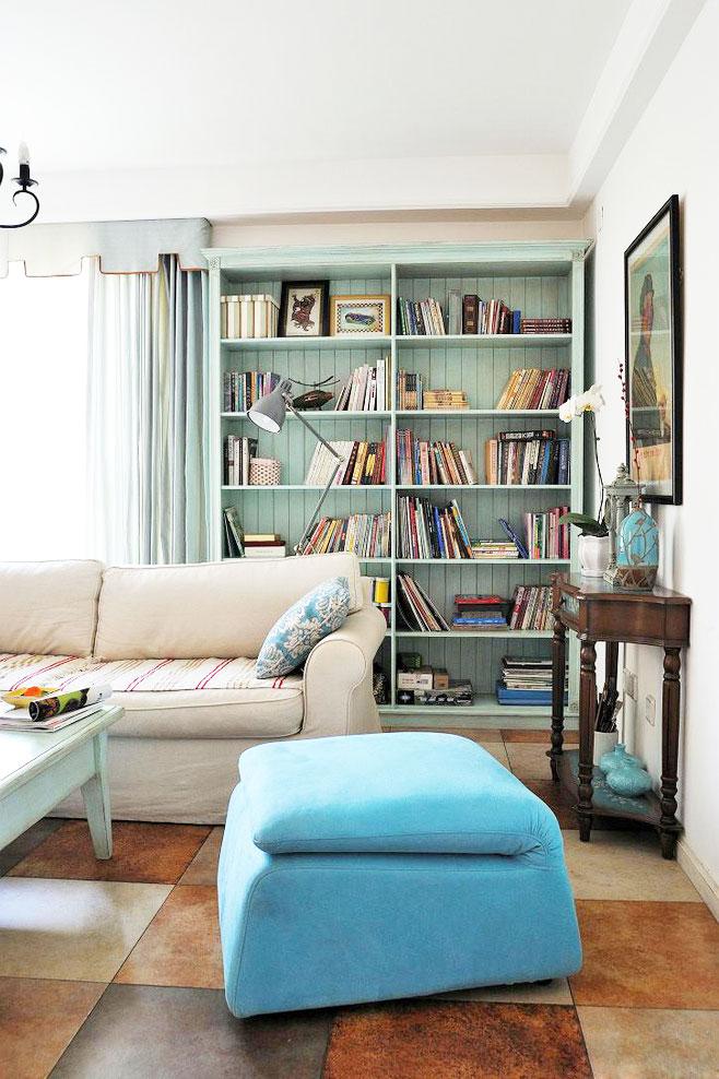 蓝色书柜效果图