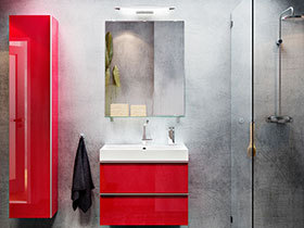 红色浴室柜设计图 12款宜家卫浴间设计
