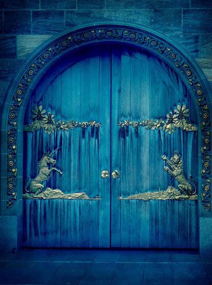 蓝色雕花木门效果图