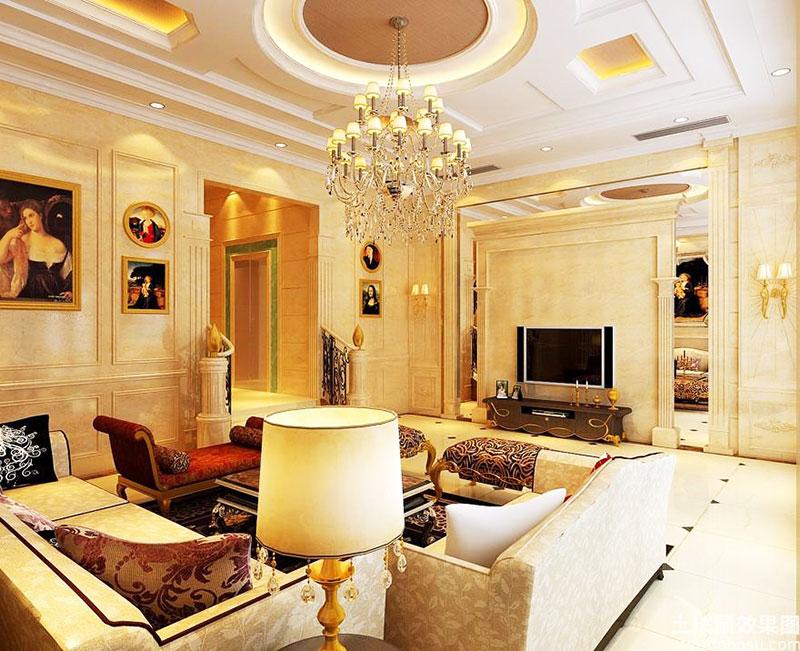 欧式别墅客厅沙发图片