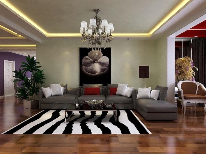 现代简洁客厅背景墙效果图