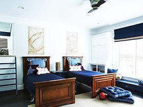 13张蓝色男孩儿童房卧室飘窗装修效果图欣赏