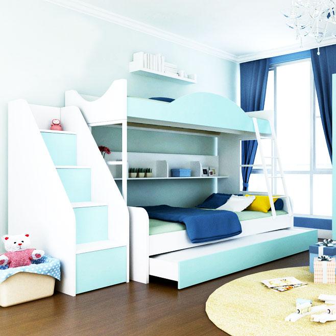 蓝色儿童床效果图