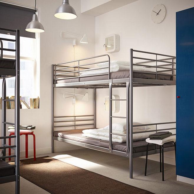 灰色双层床效果图