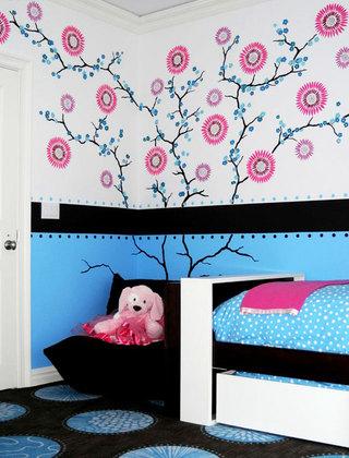 粉色手绘墙效果图