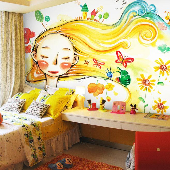 黄色手绘墙设计图