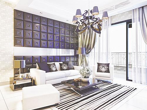 紫色沙发背景墙效果图