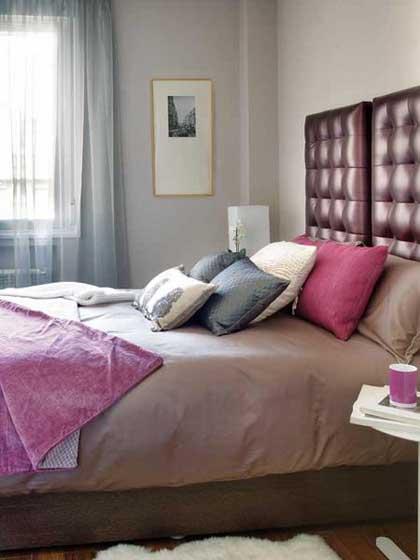 紫色简约卧室设计效果图