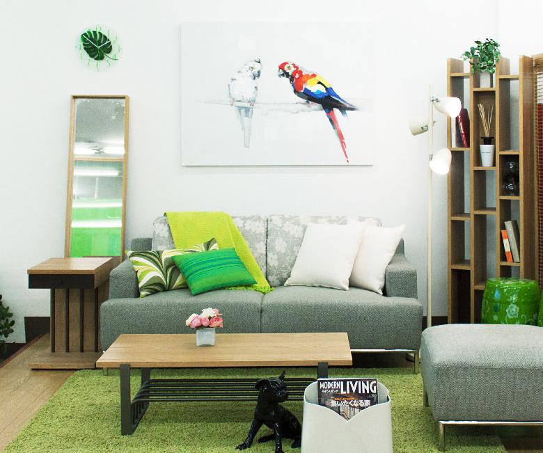 小清新绿色客厅装修图片