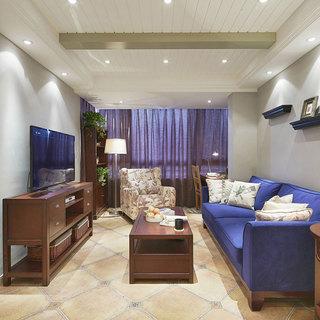 藍色美式客廳設計效果圖