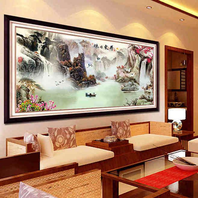 大气中式客厅山水画