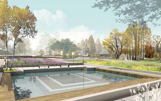 广场水塘设计效果图