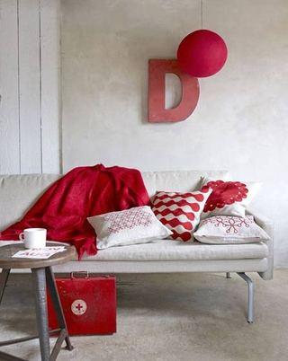 红色吊顶吊灯设计