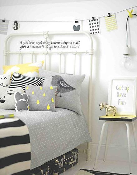 当灰色遇上黄色儿童房效果图