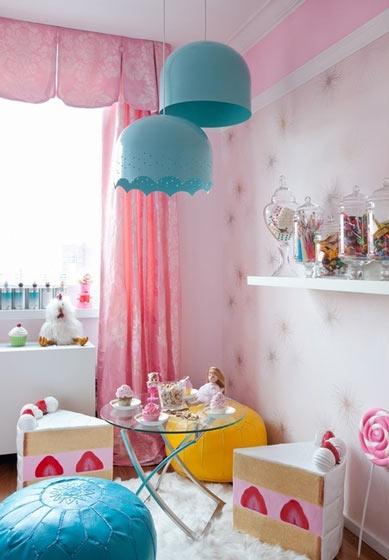 可爱粉色调儿童房效果图