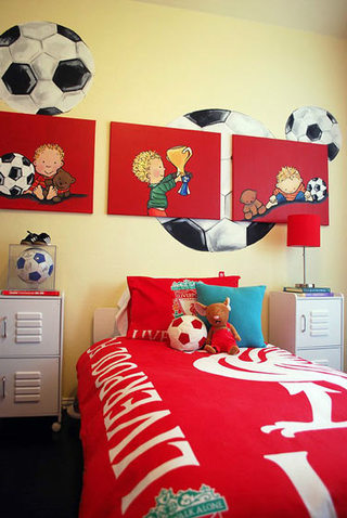 美式红色喜庆卧室设计