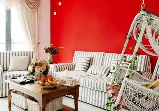 红色沙发背景墙图片