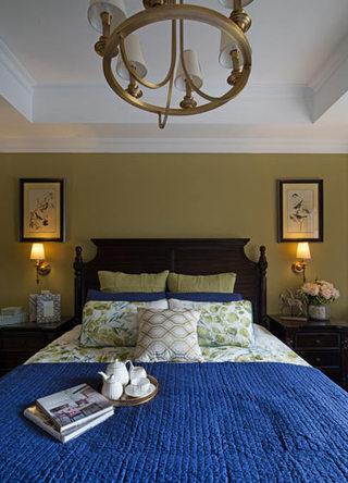 美式风格嫩绿色卧室装修效果图