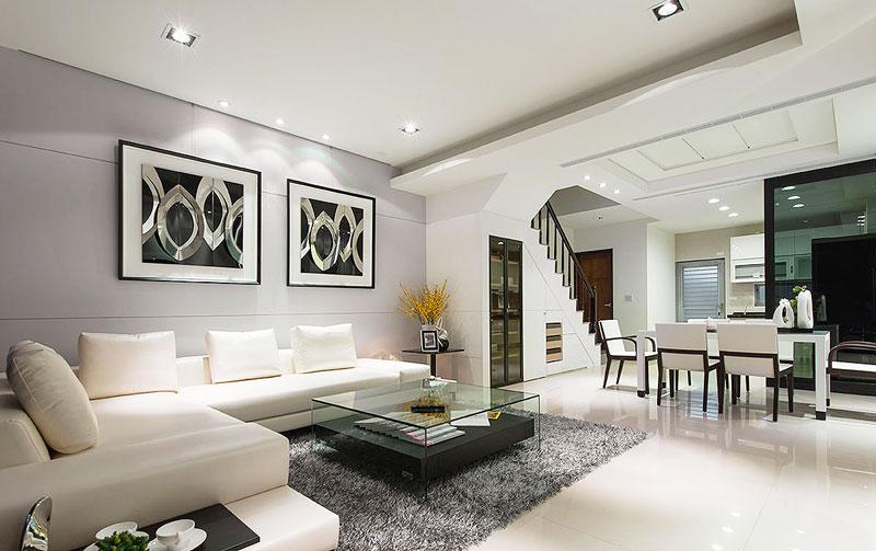 现代简约质感灰紫色沙发背景墙装修