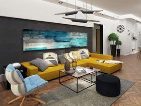 200平米公寓装修 姜黄色贯穿整个空间