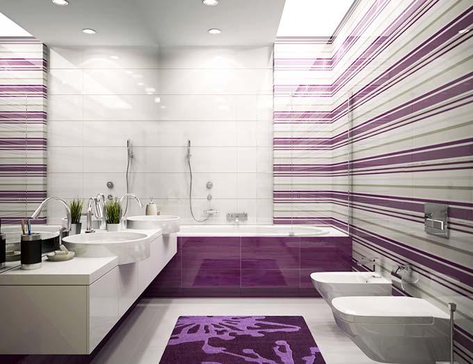 紫色系卫生间条纹控图片