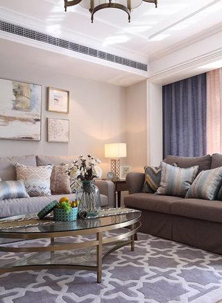 220平时尚美式咖色布艺沙发效果图