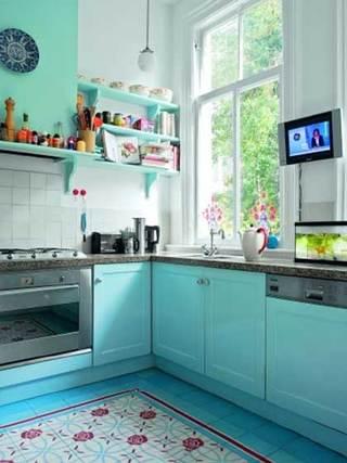 蓝色系厨房布置构造图片