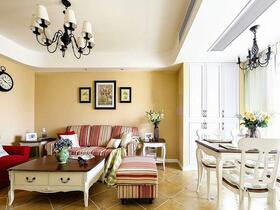 100平美式田园风格二居室装修 花园般精致