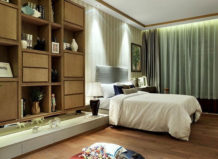 时尚新中式卧室背景墙效果图