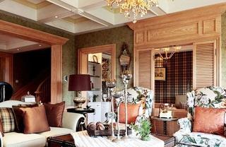110平三居美式乡村装修美式客厅