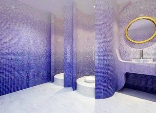 蓝色系卫生间设计实景图片