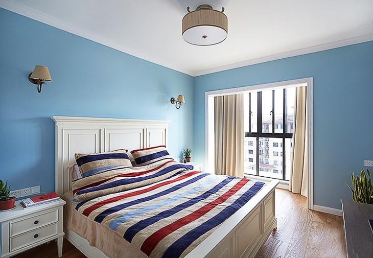 清爽天蓝色简美式卧室效果图