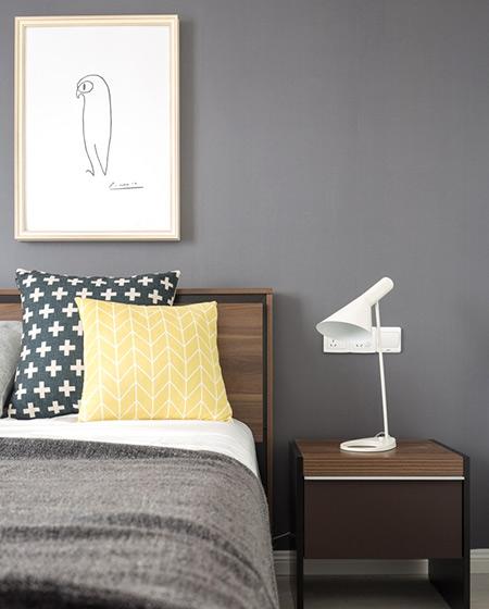 白色简约卧室宜家灯设计