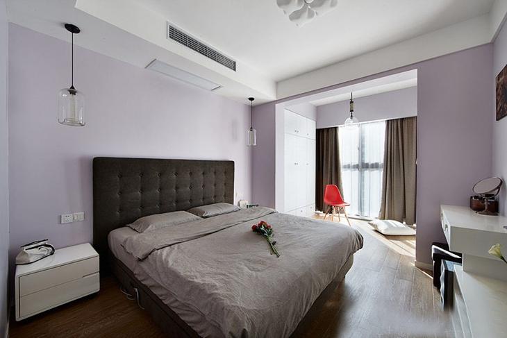 浪漫紫色简约风卧室效果图