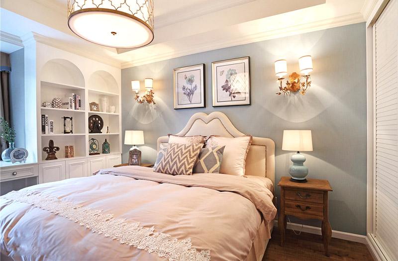 优雅美式卧室背景墙效果图