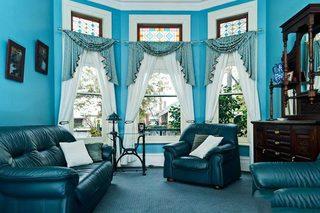蓝色系客厅设计实景图