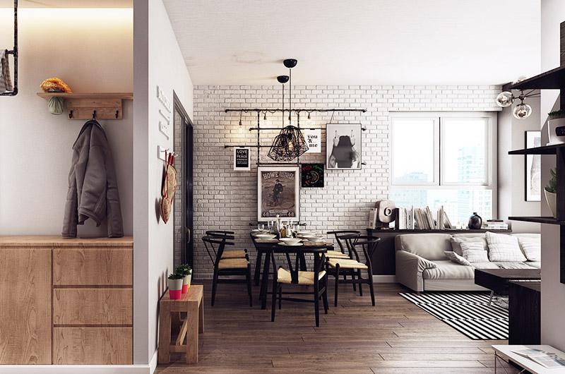 文艺混搭风格餐厅背景墙效果图