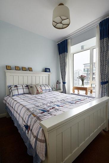 清新简美式 浅蓝色卧室效果图