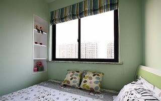 淡绿色简约风儿童房效果图