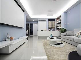 欢乐夫妇设计的沉静的家 90平蓝色调两室两厅