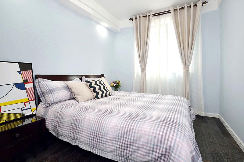 清新简洁北欧风 浅蓝色卧室效果图