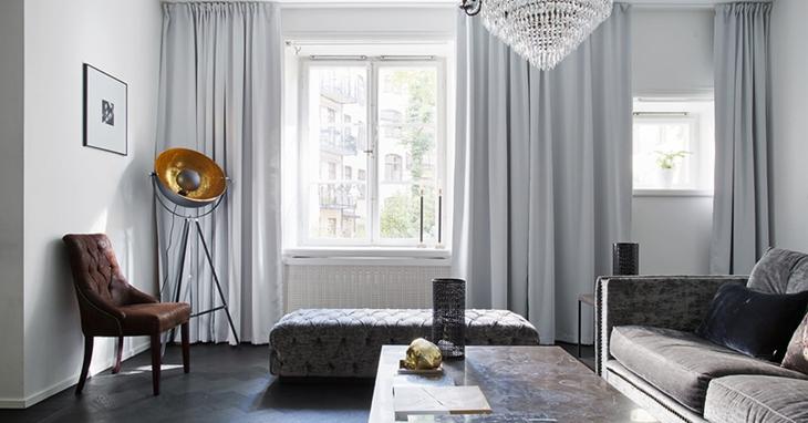时尚北欧风客厅 浅灰色窗帘图片