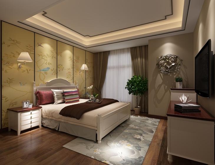 唯美古典新中式 卧室背景墙效果图